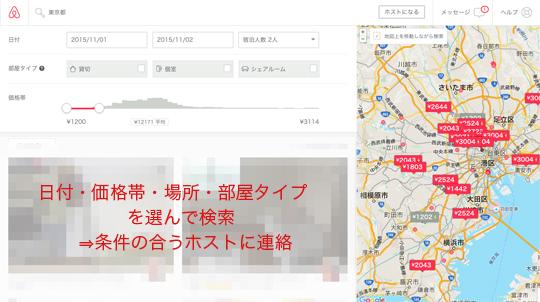 Airbnb検索結果