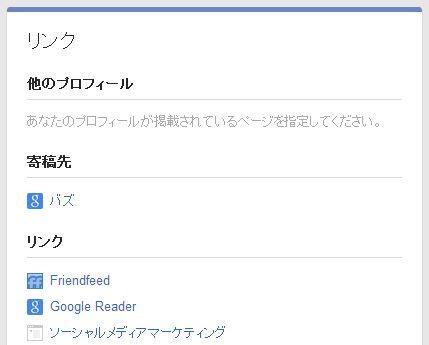 Google+のリンク欄